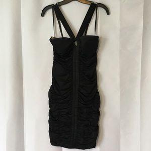 Bebe bodycon v-neck strap ruched dress